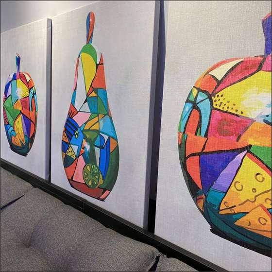 Quadro frutas coloridas abstrato decorativo abstratas