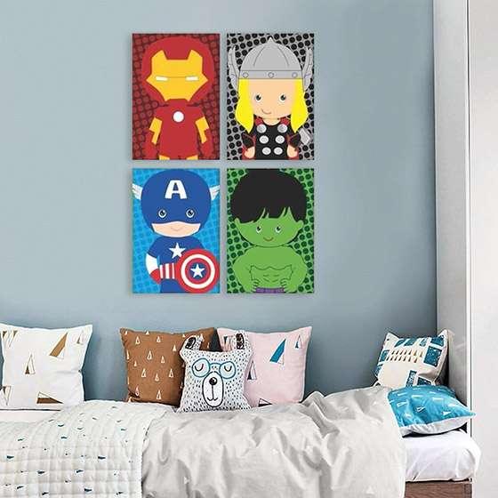 Quadro Super Heróis Marvel Baby Homem de Ferro Thor Capitao Hulk