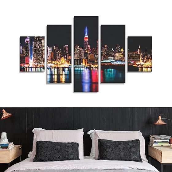 Quadro Nova York cidades 5 peças