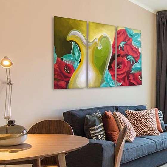 Quadro pintura flores e jarra abstrata contemporanea
