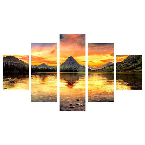 Quadro amanhecer montanhas lago natureza para decorar