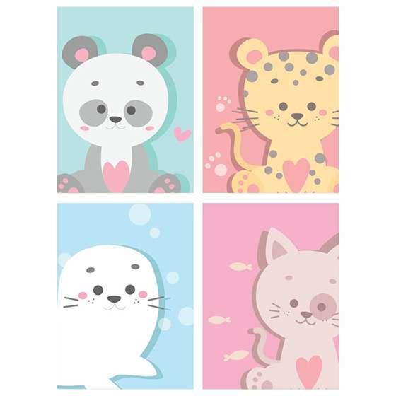 Quadro animais baby decorativo kit 3