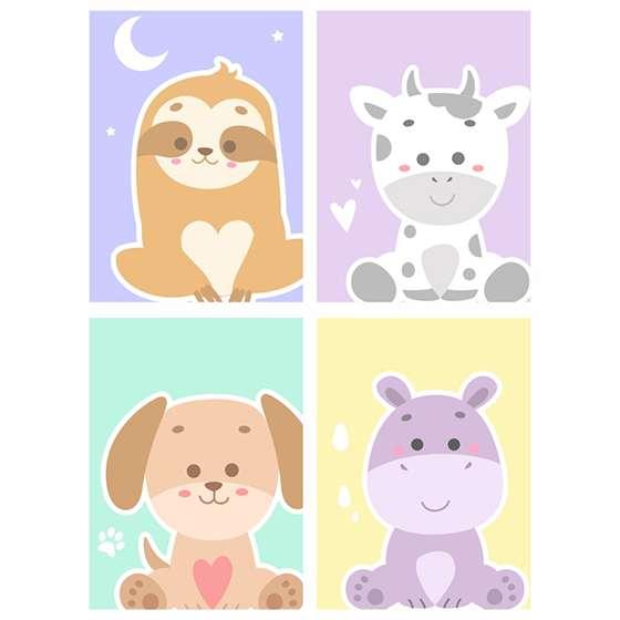 Quadro animais baby decorativo kit 4