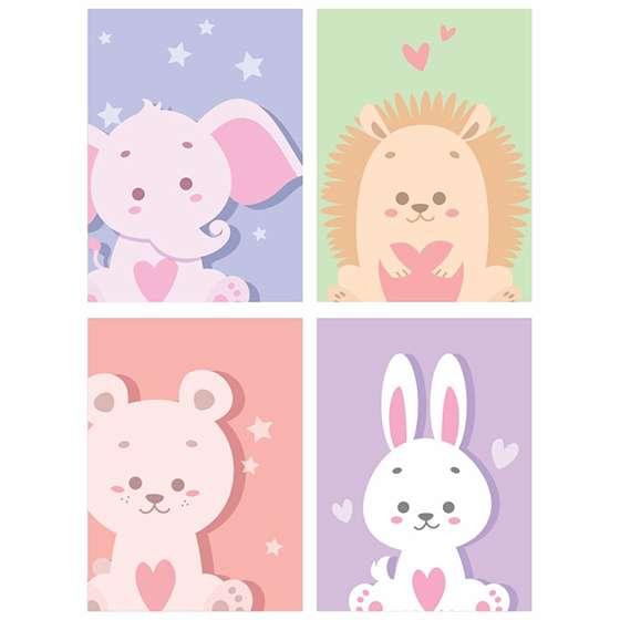Quadro animais baby decorativo kit 5