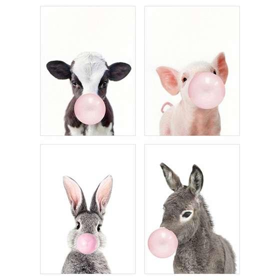 Quadro animais chicle pets fazenda decorativo