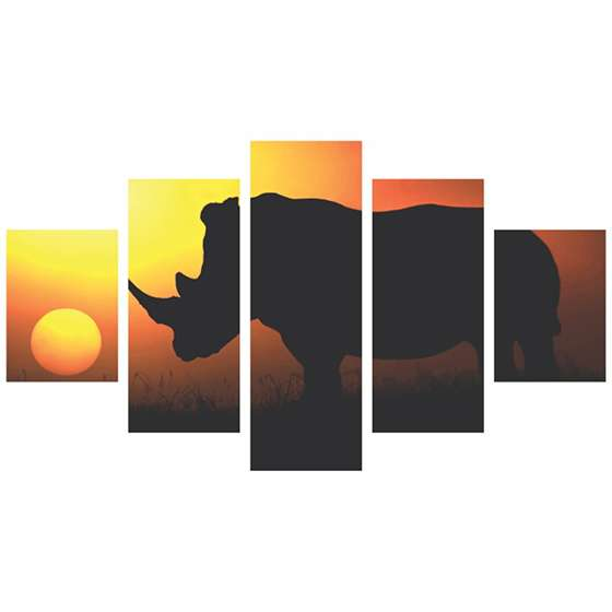 Quadro rinoceronte sol selva