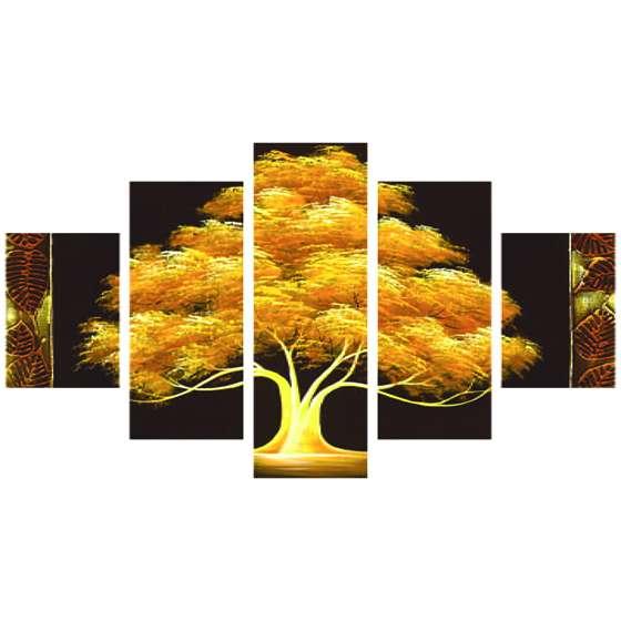 Quadro arvore da vida dourada decorativo