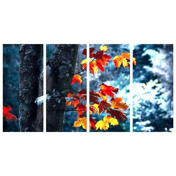 Quadro arvore folhas de outono