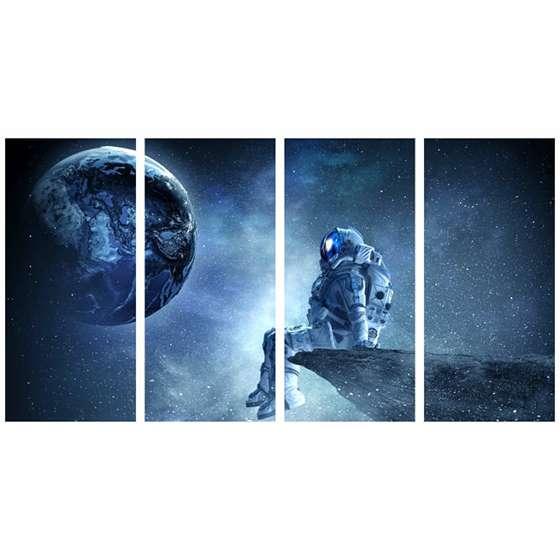Quadro astronauta psicodélico lua