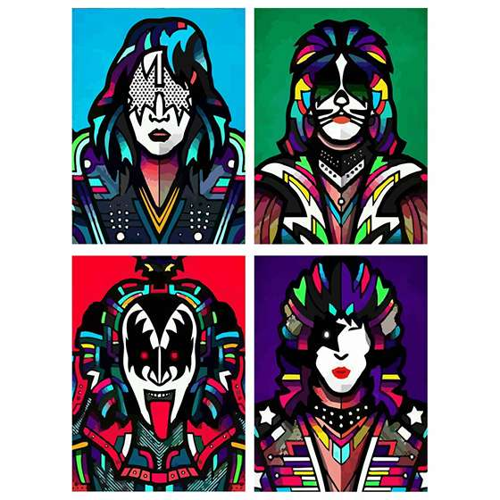 Quadro banda kiss rock musica decorativo