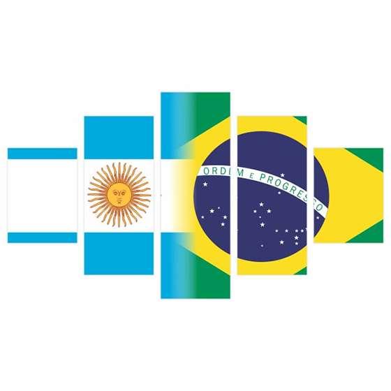 Quadro Decorativo Bandeiras Argentina X Brasil Para Pendurar