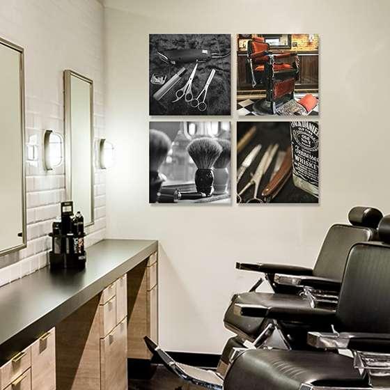 Quadro barbearia objetos decoraçao