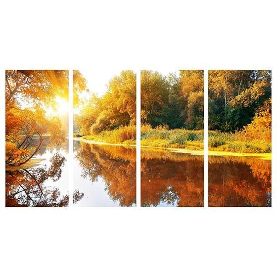 Quadro bosque lago nascer do sol decorativo