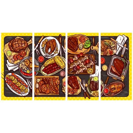 Quadro carne assada mesa decorativo