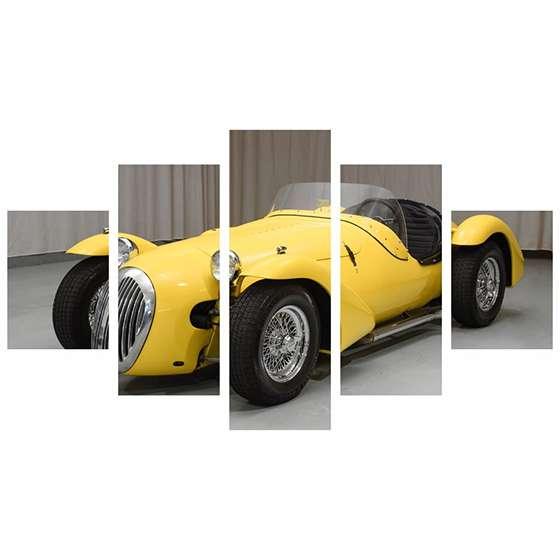Quadro carro classico amarelo para decorar