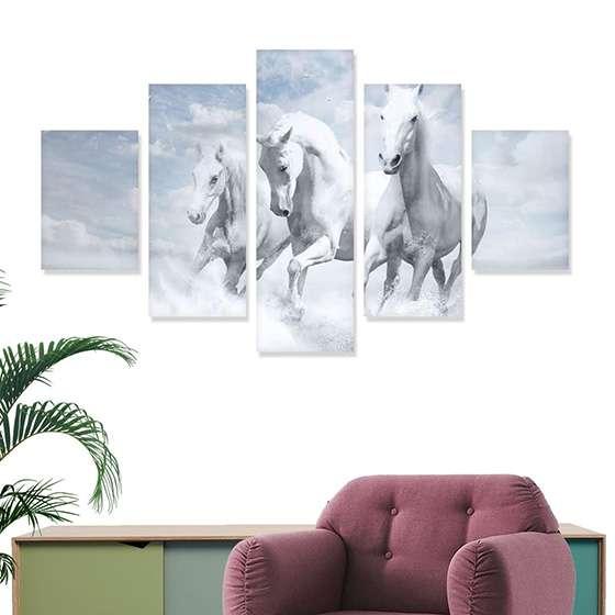 Quadro Cavalos Brancos Correndo Animais Decorativo