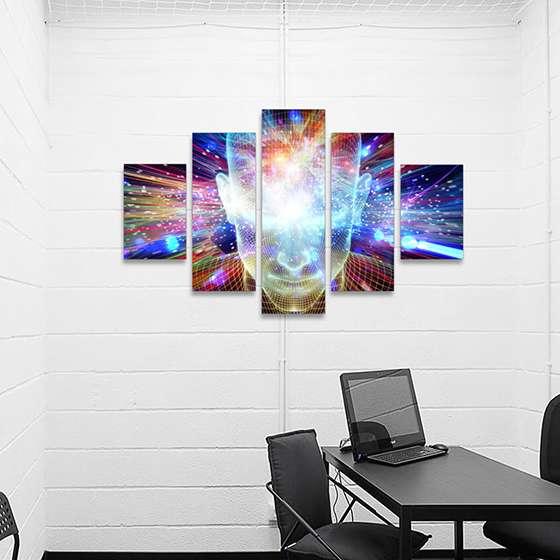 Quadro cyber tech colorido decorativo