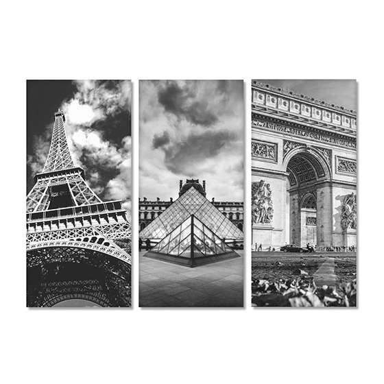 Quadro paris torre eiffel museu do louvre arco do triunfo