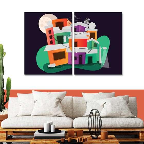 Quadro favela ilustrada decorativa