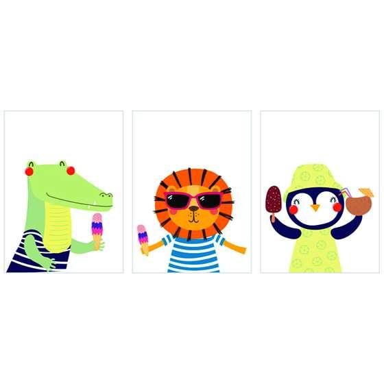 Quadros Infantis Zoo Divertidos Conjunto 3 peças