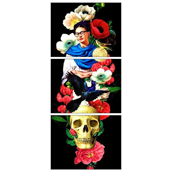 Quadro frida kahlo caveira flores decorativo