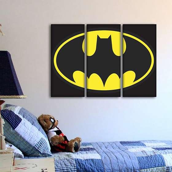 Quadro Batman Logo Marca 3 peças