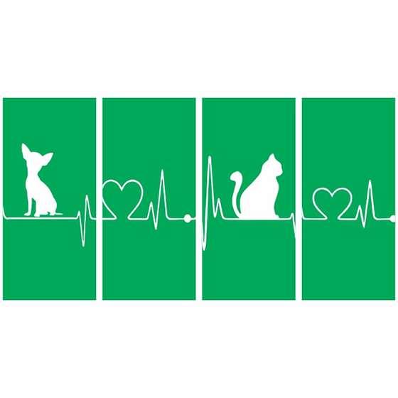 Quadro gato cachorro amor batimentos cardiacos verde decorativo