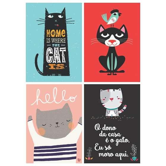 Quadro Decorativo Gatos Desenho