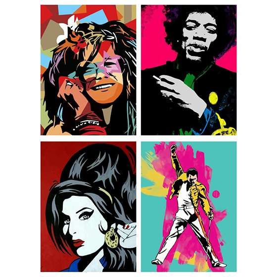 Quadro icones do rock musica bandas para decorar