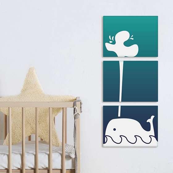 Quadro infantil baleia branca decorativa