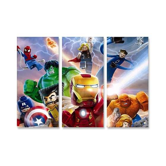 Quadro infantil lego super heroi marvel