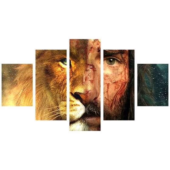 Quadro Leao e Jesus Cristo rosto meio a meio moderno 5 peças