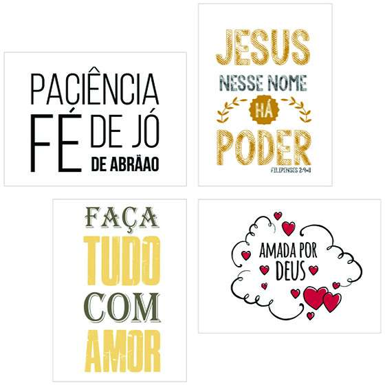 Quadro kit evangelico fé de jó decorativo