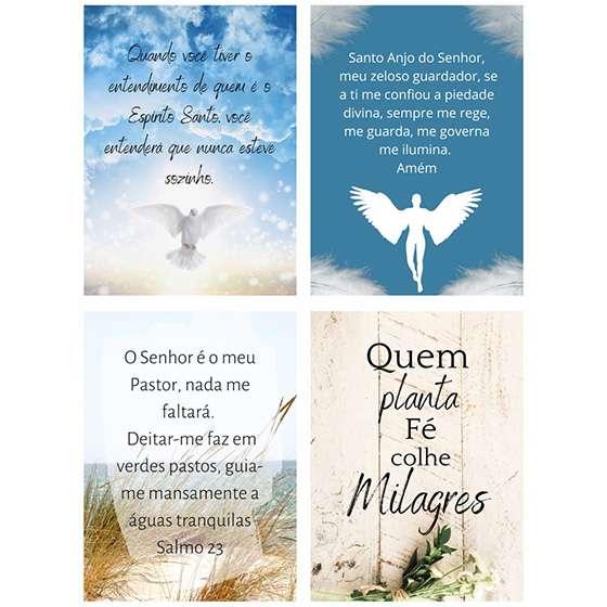 Quadro kit frases religiosas fé milagres decorativo