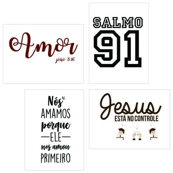Quadro kit religioso evangelico salmo decorativo