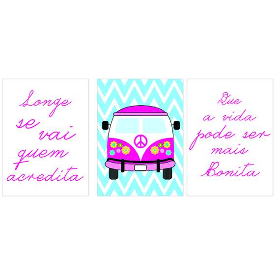 Quadro kombi rosa carro meninas decorativo
