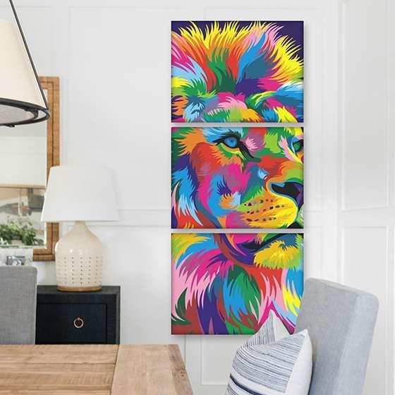 Quadro Leão aquarela color