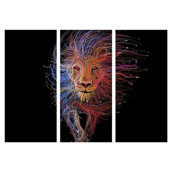 Quadro leão cibernético cabos de rede decorativo