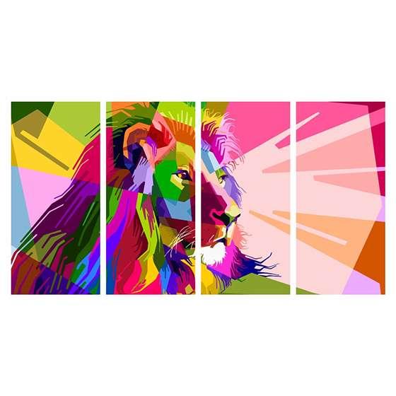 Quadro leão colorido aquarela decorativo