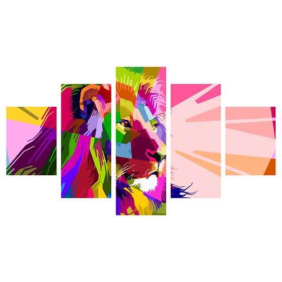 Quadro leão full color decorativo