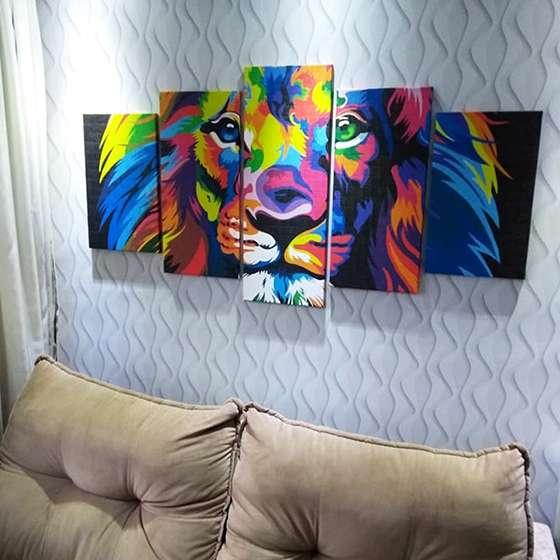 Quadro decorativo leao colorido 5 peças