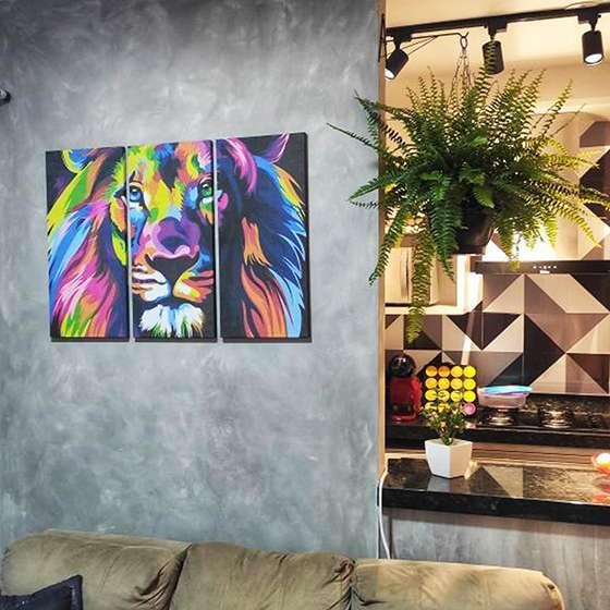 Quadro Leao colorido decorativo da tribo de juda para sala home hall
