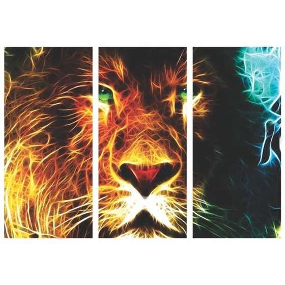 Quadro Leão em chamas moderno