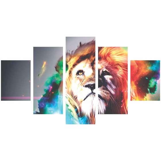 Quadro Leão moderno colorido para sala