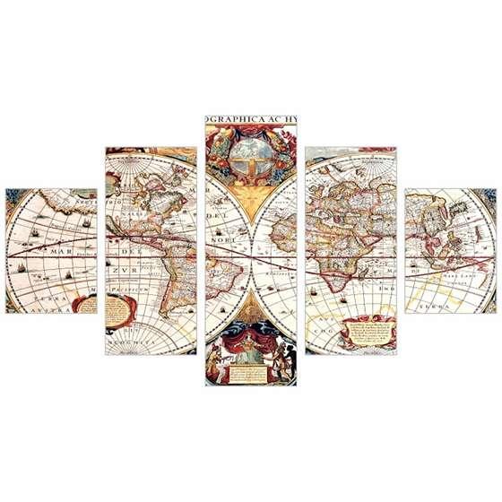 Quadro Mapa Mundi Antigo Conjunto 5 peças