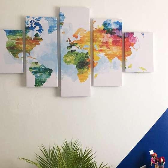 Quadro Mapa Mundi Colorido Conjunto 5 peças