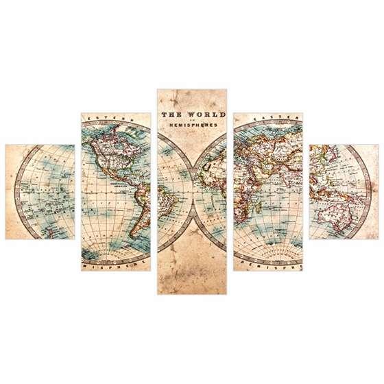 Quadro Mapa Mundi Envelhecido Decorativo