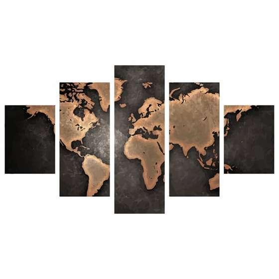 Quadro Mapa Mundi Moderno Decorativo