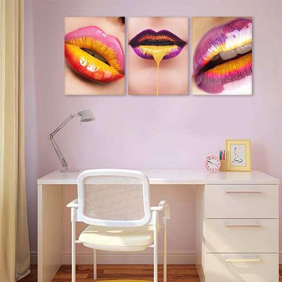 Quadro maquiagem bocas vibrantes decorativas