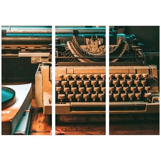 Quadro maquina de escrever escritório decorativa